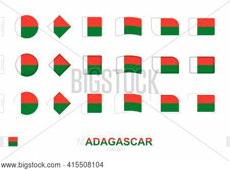 Madagascar Flag Set, Simple Flags Of Madagascar With Three Different Effects. Vector Illustration.
