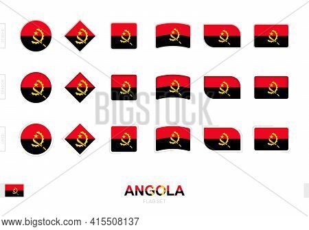 Angola Flag Set, Simple Flags Of Angola With Three Different Effects. Vector Illustration.