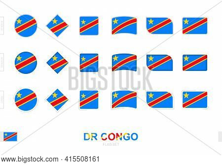Dr Congo Flag Set, Simple Flags Of Dr Congo With Three Different Effects. Vector Illustration.