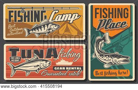 Fishing, Fishes And Fisherman Rod Posters, Retro Vector. Fishing Camp And Fishery Catch Tackles And
