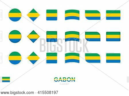 Gabon Flag Set, Simple Flags Of Gabon With Three Different Effects. Vector Illustration.