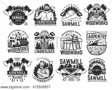 Lumberjack, Sawmill Lumbering Service And Logging Wood Vector Icons. Lumber And Forestry Industry, L