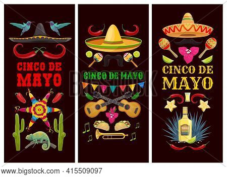 Cinco De Mayo Mexican Holiday Banners Of Vector Fiesta Party Sombrero Hats, Cactuses And Chilli Pepp