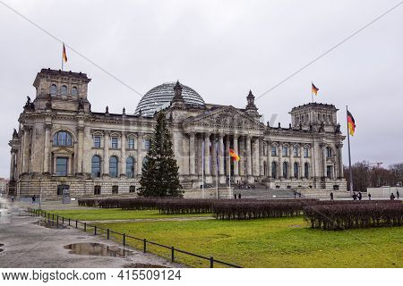 Berlin - December 2020 : The Cupola On Top Of The Reichstag Building In Berlin. Winter View