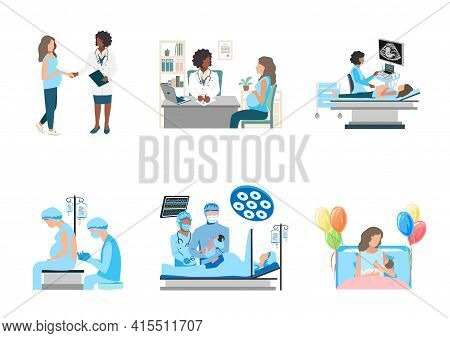 Obstetrics And Gynecology Vector Set. An Ultrasound Is Done To A Pregnant Woman. The Doctor And Nurs