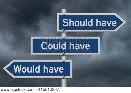 Would Have Could Have, Should Have Message On Blue Highway Road Sign With A Stormy Sky 3d Illustrati