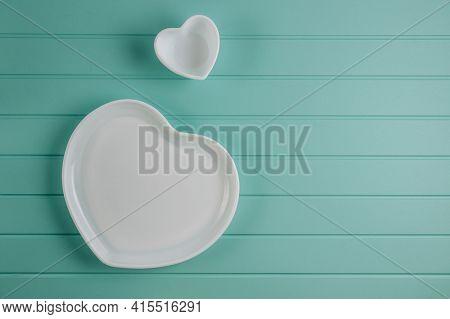 Shape Of Heart Plate . Romantic Table Setting.