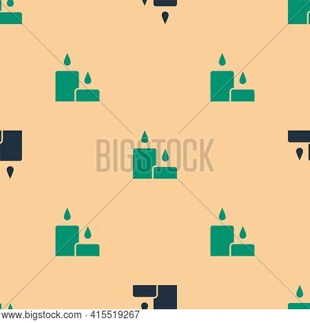 Green And Black Burning Candle Icon Isolated Seamless Pattern On Beige Background. Cylindrical Candl