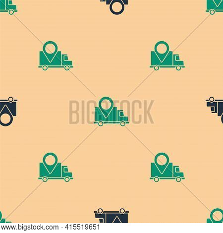 Green And Black Delivery Tracking Icon Isolated Seamless Pattern On Beige Background. Parcel Trackin