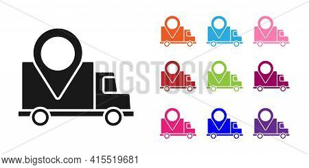 Black Delivery Tracking Icon Isolated On White Background. Parcel Tracking. Set Icons Colorful. Vect
