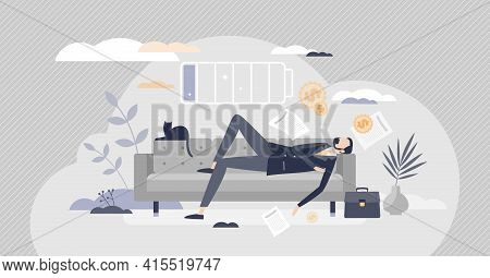 Napping And Sleeping On Couch To Recharge Human Battery Tiny Person Concept
