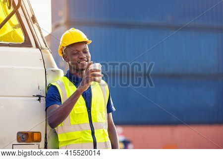 African American Businessman Drinking Coffee, Black Man Have Coffee Break At Worksite Outdoors Conta