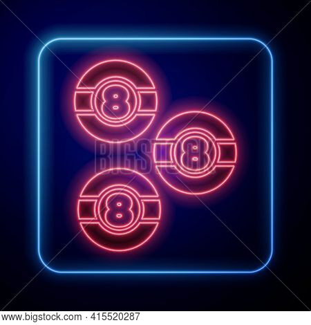 Glowing Neon Billiard Pool Snooker Ball With Number 8 Icon Isolated On Black Background. Vector