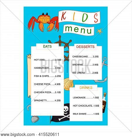 Childrens Menu. Design Of The Kids Menu In Pirate Style. Design Menu On A Blue Background. Hand Draw