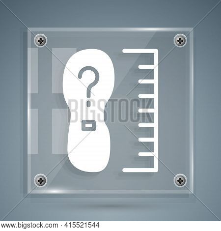 White Square Measure Foot Size Icon Isolated On Grey Background. Shoe Size, Bare Foot Measuring. Squ
