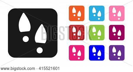 Black Human Footprints Shoes Icon Isolated On White Background. Shoes Sole. Set Icons Colorful. Vect