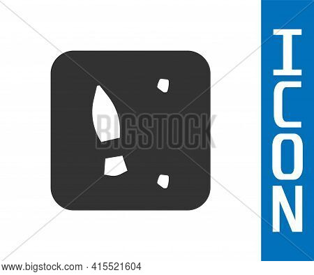 Grey Human Footprints Shoes Icon Isolated On White Background. Shoes Sole. Vector