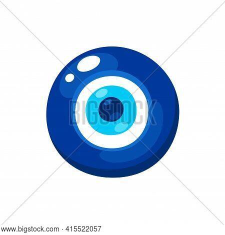 Nazar Boncugu, Turkish Evil Eye Amulet. Glass Eye Charm, Protection Symbol. Isolated Vector Clip Art