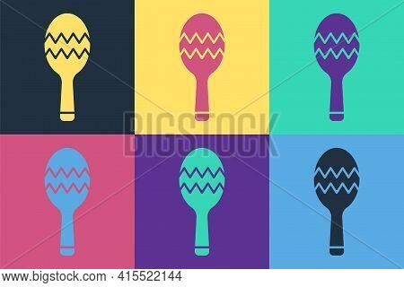 Pop Art Maracas Icon Isolated On Color Background. Music Maracas Instrument Mexico. Vector