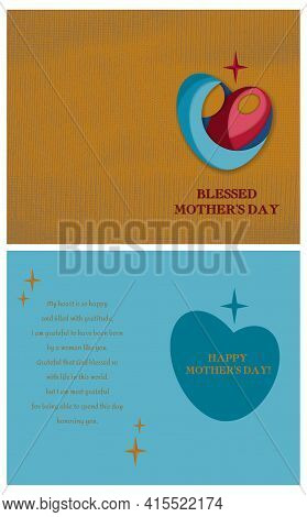 Blessed Mother's Day Double-sided Folded Postcard Layout. Vector Printable Greeting Card Template Wi