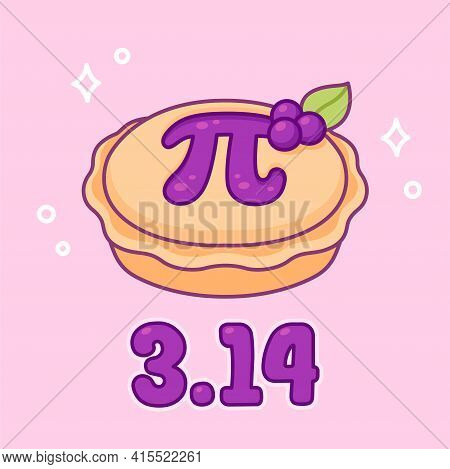 3.14 (march 14) International Pi Day. Sweet Blueberry Pie With Greek Letter Pi, Maths Symbol. Cute C