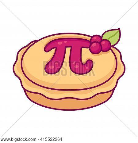 Sweet Cherry Pie With Greek Letter Pi, Maths Symbol. Cute Cartoon Drawing, Vector Clip Art Illustrat
