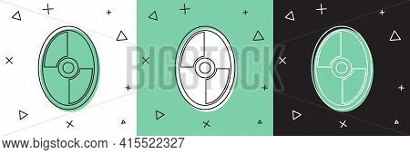 Set Greek Shield With Greek Ornament Icon Isolated On White And Green, Black Background. Vector