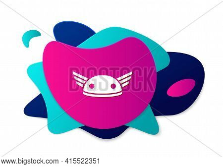 Color Helmet With Wings Icon Isolated On White Background. Greek God Hermes. Abstract Banner With Li