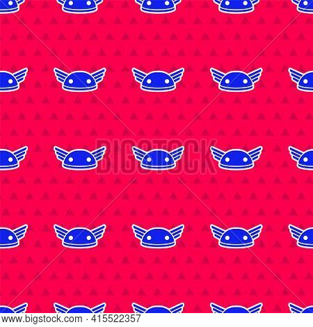 Blue Helmet With Wings Icon Isolated Seamless Pattern On Red Background. Greek God Hermes. Vector