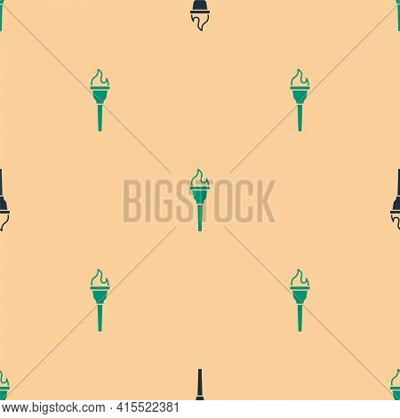 Green And Black Torch Flame Icon Isolated Seamless Pattern On Beige Background. Symbol Fire Hot, Fla