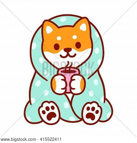 Cute Cartoon Dog With Blanket And Cup Of Hot Tea. Kawaii Shiba Inu Puppy In Warm Cozy Blanket. Isola