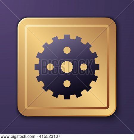 Purple Bicycle Sprocket Crank Icon Isolated On Purple Background. Gold Square Button. Vector