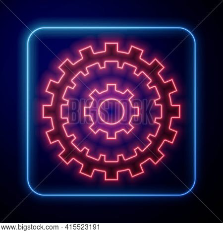 Glowing Neon Bicycle Cassette Mountain Bike Icon Isolated On Black Background. Rear Bicycle Sprocket