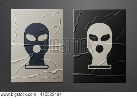 White Balaclava Icon Isolated On Crumpled Paper Background. A Piece Of Clothing For Winter Sports Or