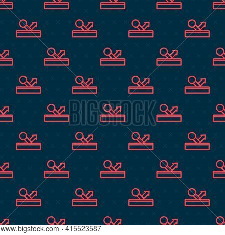 Red Line Billiard Pool Snooker Ball With Number 8 Icon Isolated Seamless Pattern On Black Background