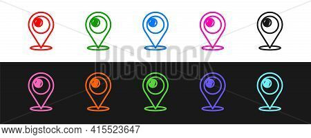 Set Line Map Pointer With Billiard Pool Snooker Ball With Number 8 Icon Isolated On Black And White