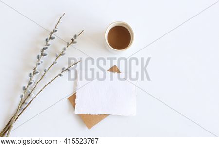 Spring Still Life.easter Composition With Goat Willow, Pussy Willow Or Great Sallow, Blank Paper She