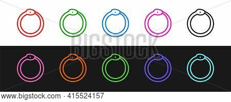 Set Line Magic Symbol Of Ouroboros Icon Isolated On Black And White Background. Snake Biting Its Own