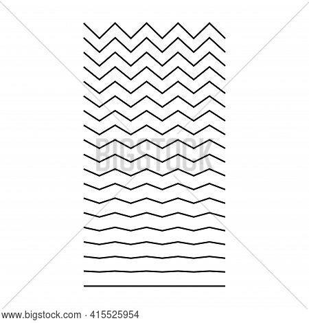 Set Of Wavy, Curvy, Zigzag Horizontal Lines. Vector Simple New Design Element .