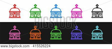 Set Line Santorini Building Icon Isolated On Black And White Background. Traditional Greek White Hou