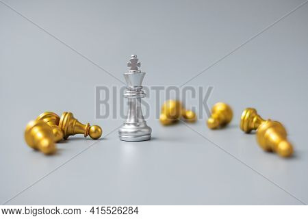 Silver Chess King Figure Stand Out From Crowd Of Enermy Or Opponent. Strategy, Success, Management,