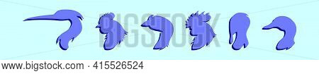 Set Of Fowl Head Animals Cartoon Icon Design Template With Various Models. Modern Vector Illustratio