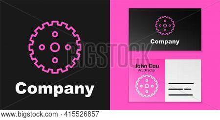 Pink Line Bicycle Sprocket Crank Icon Isolated On Black Background. Logo Design Template Element. Ve