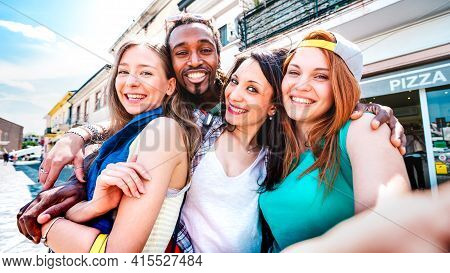 Multicultural Tourists Group Taking Selfie At Old Town Tour - Happy Millenial Life Style Concept Wit