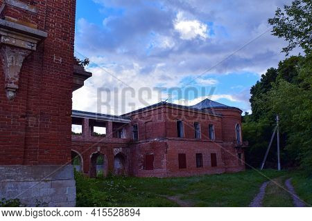 A Row Of Buildings Of An Old Abandoned Noble Mansion. Polibino Village, Dankovsky District, Lipetsk