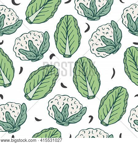Seamless Pattern With Hand Drawn Cauliflower And Chinese Cabbage On A White Background. Doodle, Simp