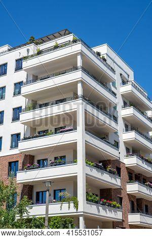 Modern White Apartment Block Seen In Berlin, Germany