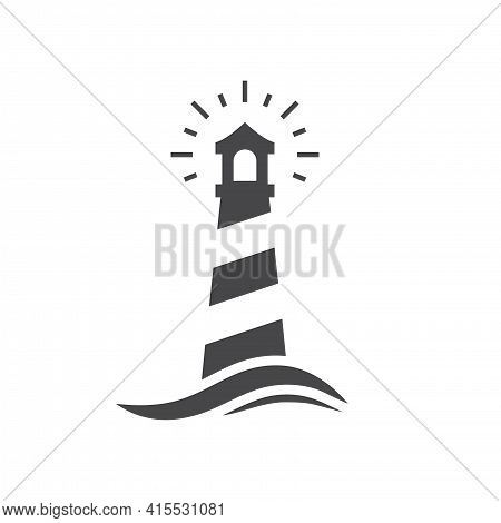 Lighthouse Black Vector Icon. Beacon Tower At Sea With Wave Symbol.
