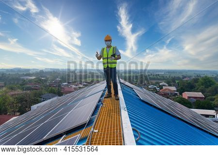 Solar Energy, Happy Engineering Working On Roof Checking And Maintenance In Solar Power Plant , Sola