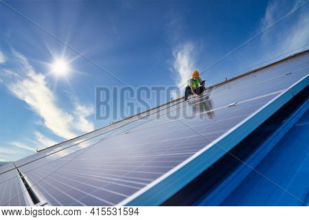 Solar Energy, Engineering Team Working On Roof Checking And Maintenance In Solar Power Plant , Solar